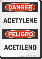Acetylene Bilingual OSHA Danger Sign