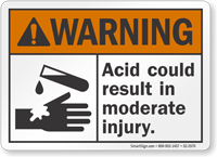 Acid Could Result In Moderate Injury ANSI Warning Sign