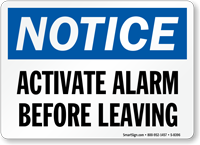 Activate Alarm Before Leaving Sign