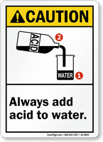Always Add Acid To Water ANSI Caution Sign