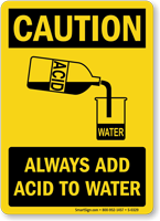 Always Add Acid to Water Caution Sign