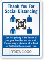 Add Your Logo Social Distancing Custom Sign