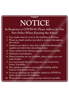 Adhere By New Policy When Entering The School Showcase Sign