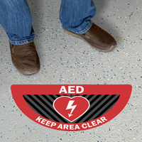 AED Keep Area Clear Semicircle SlipSafe Floor Sign