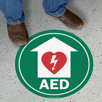 AED with Defib Heart, Red Border Floor Sign