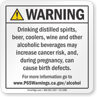 Alcoholic Beverage Exposure Prop 65 Sign