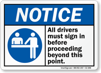 All Drivers Sign In Notice Sign