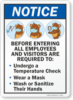 All Employees and Visitors Temperature Check Mask Sign