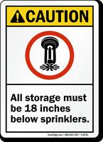 Storage Must Be Below Sprinklers Sign