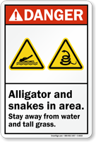 Alligator Snakes In Area Stay Away Danger Sign