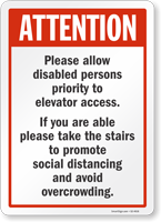 Allow Disabled Persons Priority To Elevator Access Sign