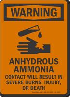 Anhydrous Ammonia OSHA Warning Sign
