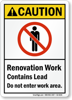 Renovation Work Contains Lead ANSI Caution Sign