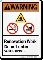Renovation Work Area ANSI Warning Sign