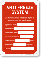 Anti Freeze System Sprinkler Identification Sign