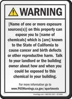 Apartment Exposure Prop 65 Sign