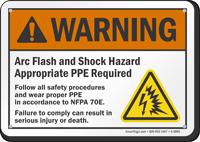 Arc Flash Shock Warning Hazard Sign