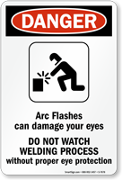 Arc Flashes Can Damage Eyes Sign