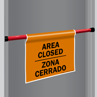 Area Closed Bilingual Door Barricade Sign