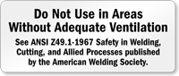 Areas Without Adequate Ventilation Welding Safety Sign