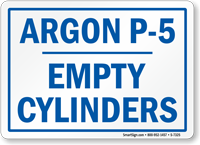 Argon Empty Cylinders Sign