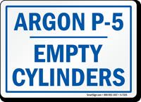 Argon Empty Cylinders Sign