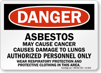 Asbestos Authorized Personnel Only OSHA Danger Sign
