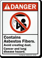 Asbestos Fibers Avoid Dust, Lung Disease Hazard Sign