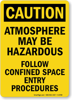 Caution Atmosphere Hazardous Confined Procedures Sign