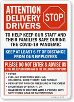 Attention Delivery Drivers Keep Employees Safe Sign