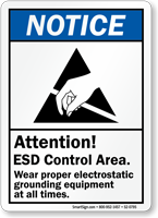ESD Control Area Wear Electrostatic Grounding Equipment Sign