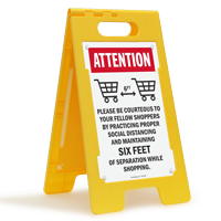 ATTENTION: Please Be Courteous to Fellow Shoppers Maintain Social Distancing FloorBoss XL™ Floor Sign
