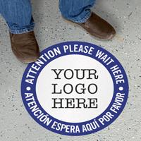Attention Wait Here Add Your Logo Custom SlipSafe Floor Sign