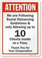 Attention We Are Following Social Distancing Guidelines Sign