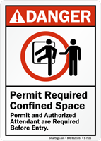 Permit And Authorized Attendant Required Before Entry Sign