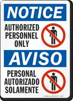 Bilingual Authorized Personnel Personal Autorizado Sign