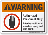 Authorized Personnel Only ANSI Warning Sign