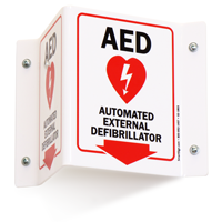 Automated External Defibrillator Projecting Sign