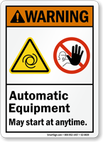 Automatic Equipment May Start Anytime ANSI Warning Sign