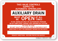 Auxiliary Drain Fire Sprinkler Identification Sign