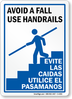 Bilingual Avoid A Fall Use Handrails Sign