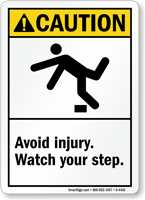 Caution (ANSI) Avoid Injury Watch Step Sign