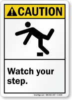 Caution (ANSI) Watch Your Step Sign