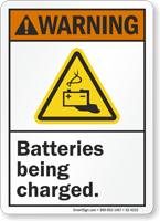 Batteries Being Charged ANSI Warning Sign