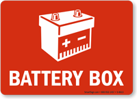 Battery Box With Graphic Sign