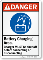 Battery Charging Area Shut Off Before Connecting Sign