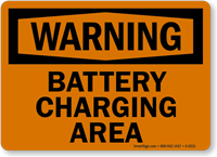 Warning Battery Charging Area Sign