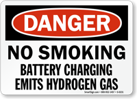 Danger Smoking Battery Charging Sign