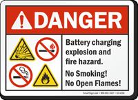 Battery Charging Explosion Hazard ANSI Danger Sign