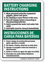 Battery Charging Instructions Bilingual Sign